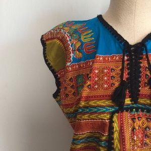 Vintage 60s 70s Tribal Hippie Caftan Shirt / Dashi